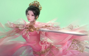Picture girl, weapons, sword, fantasy, art, in pink