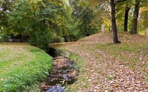 Picture autumn, water, Park, foliage, falling leaves, water, park, Autumn, leaves, fall