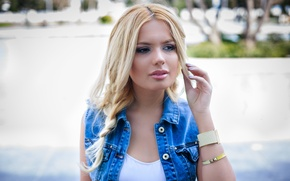 Picture look, girl, face, hair, jeans, beauty
