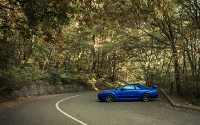 Picture blue, tuning, nissan, profile, Nissan, blue, r34, JDM, skyline gtr