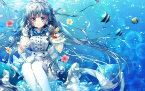 Wallpaper girl, fish, flowers, bubbles, tea, anime, art, Cup, under water, saucer, miwabe sakura