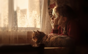 Picture cat, house, girl