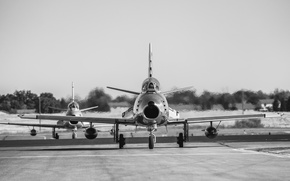 Wallpaper fighter, the airfield, jet, Sabre, F-86