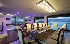 Picture design, style, interior, yacht, salon, Suite, dining room
