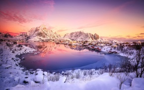 Picture winter, snow, Norway, town, North, settlement, .