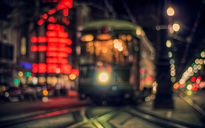 Picture road, light, night, the city, lights, the evening, lights, tram, bokeh