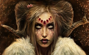 Picture girl, butterfly, piercing, horns, witch, looking at the viewer