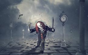 Wallpaper knife, background, clown