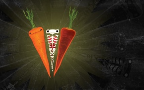 Picture sadness, greens, mood, figure, texture, silhouette, bones, skeleton, carrots, carrot
