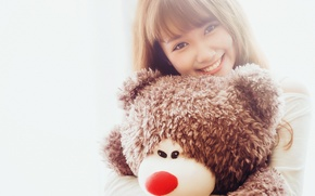 Picture girl, smile, bear