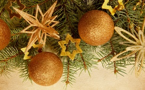 Picture branches, balls, stars, tree, Christmas decorations