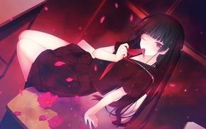 Picture girl, anime, petals, art, form, schoolgirl, desks, kanoa yuuko, tasogare otome x amnesia, twilight Virgo …