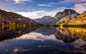 Picture trees, mountains, nature, lake, reflection