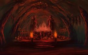 Picture blood, skull, cave, Bloodseeker, Dota 2