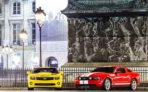 Picture mustang, lights, ford, chevrolet camaro, muscle cars