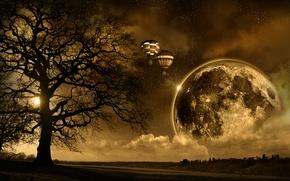 Picture Dream, big moon, scape