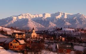 Picture winter, mountains, snow, village, sunlight, Romania, church, Brasov, Bucegi, Magura