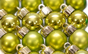 Wallpaper balls, decoration, reflection, holiday, balls, Shine, new year, a lot, mirror, Christmas decorations, yellow-green