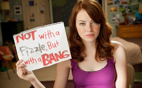 Picture girl, sheet, paper, the inscription, frame, brown hair, romance, Emma Stone, Comedy, Easy A, Emma …