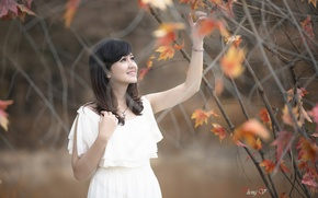 Picture girl, nature, Asian