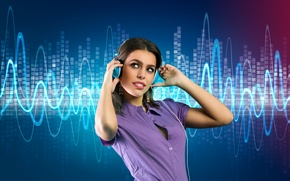 Picture headphones, background, headphones, ringtones, girl, girl, music, music, ringtones, background