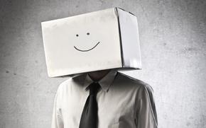 Picture box, tie, smiley