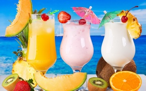 Picture sea, cocktail, fruit, fresh, drink, cocktail, fruits, tropical