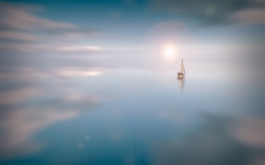 Picture water, the sun, clouds, surface, reflection, sailboat