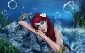 Picture eyes, look, water, girl, reverie, bubbles, face, the ocean, stone, mermaid, hands, makeup, art, tail, …