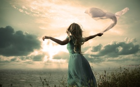Picture sea, the sky, girl, clouds, hair, hands, dress, fabric, curls