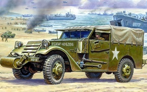 Picture figure, ships, art, tanks, landing, landing, Scout Car, Reconnaissance vehicle