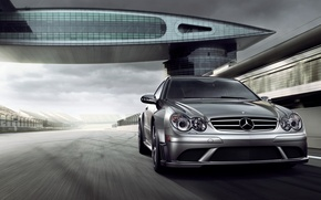 Wallpaper blur, track, mercedes, speed