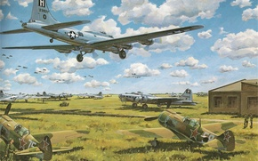 Picture the sky, clouds, war, fighter, Boeing, bomber, Art, the airfield, Shop, American, B-17G, four-engine, Soviet, …