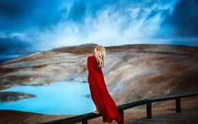 Picture the sky, girl, nature, cloak