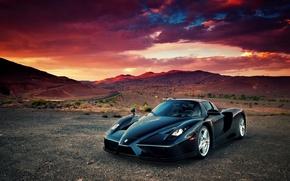 Picture clouds, sunset, desert, supercar, Ferrari Enzo, Ferrari what Enzo's info
