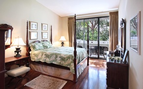 Picture style, bed, interior, lamp, bedroom, chest