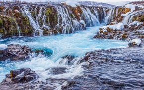 Picture snow, mountains, Iceland, waterfall, stream, rocks, river