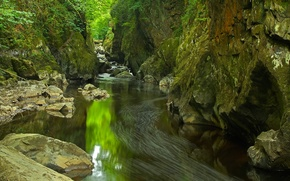 Picture river, rocks, gorge, Wales