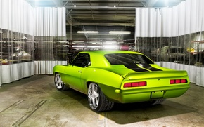 Picture machine, garage, car, Chevrolet Camaro, Rides Green Monster 34