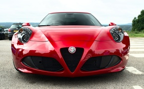 Wallpaper red, Alfa Romeo, the front