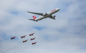 Picture Airbus, Switzerland, the plane, The A350, the sky, clouds, parade