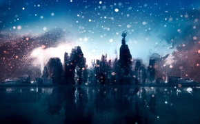 Wallpaper Sketch, snow, the city