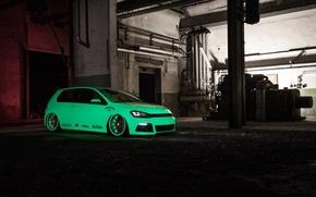 Picture green, Volkswagen, Light, tuning, Tron, Golf, VII