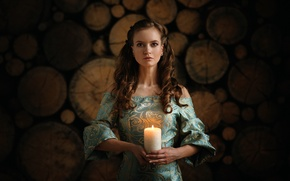 Picture girl, candle, dress, bokeh, Dennis Drozhzhin, Anabel