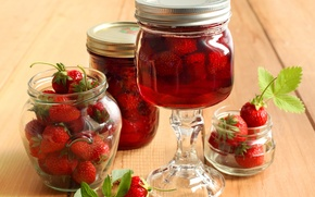 Picture leaves, berries, strawberry, jars, red, compote