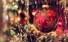 Wallpaper bokeh, tree, ball, New year