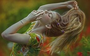 Picture girl, fantasy, hair, art, stroke, Dream, Agnieszka Lorek, Magdalena Andruszkieiwcz