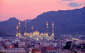 Picture mountains, building, panorama, Yemen, Yemen, The Al-Saleh Mosque, Sana, Sanaa, Al Saleh Mosque