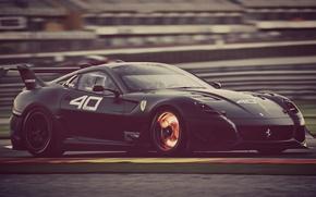 Picture road, machine, speed, black, Ferrari, 599 xx