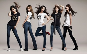 Picture music, girls, hair, jeans, group, Asian girls, South Korea, SNSD, So Nye Will Shi Dae, …